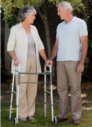 Image of a Zimmer/walking frame and user